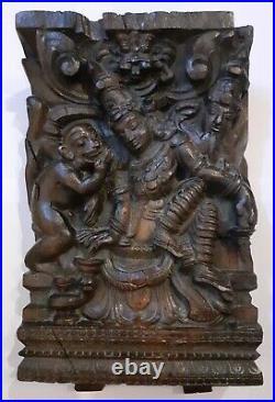 Ancien Bas-relief Bois Sculpté Asie Divinité Singe Fin 19ème Siècle