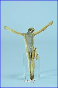 Ancien Beau Christ Corpus Christi Patiens sculpté 18ème Religieux crucifix