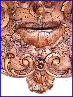 Ancien Benitier En Bois Sculpte Epoque Xviiie Siecle Baroque Saint Esprit 1700