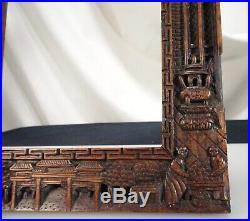Ancien Birman Sculpté Bois Cadre Photo 56167