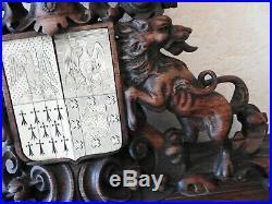 Ancien Blason Heraldique En Bois Sculpte En Corne Antique French Coat Of Arms