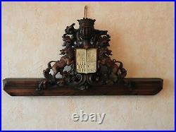 Ancien Blason Heraldique En Bois Sculpte En Corne French Coat Of Arms