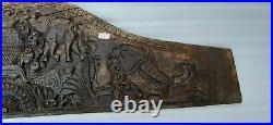 Ancien Bois Sud Inde Rare Porte Animal Figurine Fin Sculpté Mural Panneau NH6537