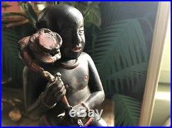 Ancien Bouddha Enfant en bois sculpté laque noire et rouge Vietnam 19ème haut 34