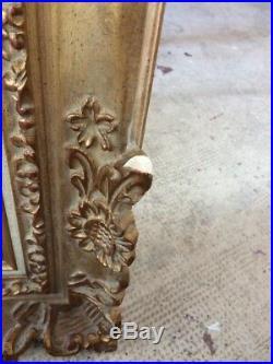 Ancien Cadre Bois Doré Sculpté Main Canevas tapisserie enfant vintage french