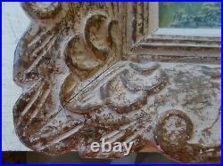Ancien Cadre Montparnasse En Bois Sculpte 44,5 X 40 CM Avec Une Aquarelle Signe