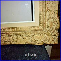 Ancien Cadre Montparnasse bois sculpté 10F 55x47 cm début XXe