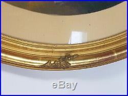 Ancien Cadre Ovale bois sculpté doré à la feuille Fin XIX° s. TB. État