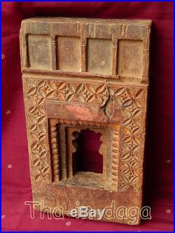 Ancien Cadre Teck Moucharabieh Sculpte 1,2kg 16x27x4,5cm Khidki Inde 23