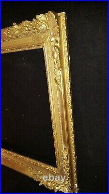 Ancien Cadre en Bois Stuc Doré Style Louis XVI Décor Feuilles 78x67cm 19ème