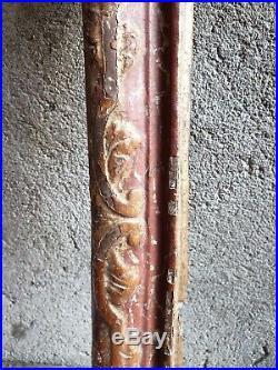 Ancien Care, Bois Sculpte, Bois Polychrome, Xviiieme, Cadre Epoque Louis Xiv, Tableau