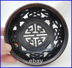 Ancien Chinois Sculpté Bois Gingembre Pot Couvercle 82458