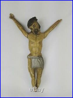 Ancien Christ en bois sculpté polychrome ART POPULAIRE 39cm 18ème SIÈCLE