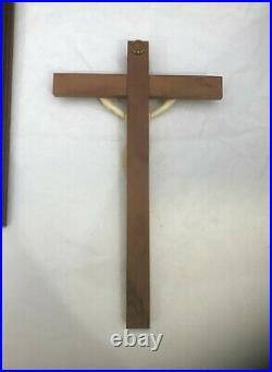 Ancien Christ en os sculpté 18 cm Crucifix Croix en bois Religieux Dieppe Bovin