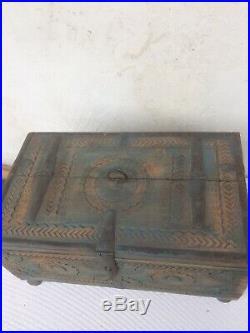 Ancien Coffre Mariage Radjasthan Inde Bois Sculpté Ferrures