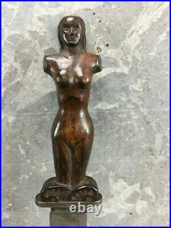 Ancien Couteau Manche Figuratif Bois Sculpté Antique Knife Alte Messer Chuchillo