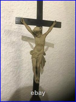 Ancien Crucifix 56 cm Reliquaire Argent Massif Christ en Bois Sculpté 19 eme XIX