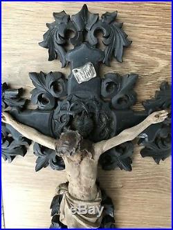 Ancien Crucifix Christ Bois Sculpté Ex Voto 19e