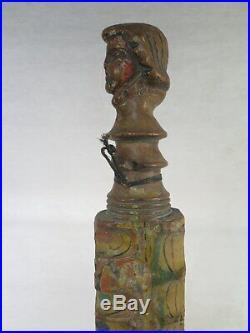 Ancien Element De Charette Sicilienne En Bois Sculpte Polychrome Art Populaire