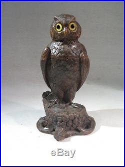 Ancien Encrier Bois Sculpte Representant Une Chouette Travail Suisse Date 1881
