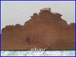 Ancien Fronton d'Armoire Meuble en Bois Sculpté 100x27cm