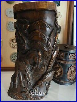 Ancien GRAND Pot Pinceau Bambou Bois Sculpté Japon Chinese Scholar Bamboo Bitong