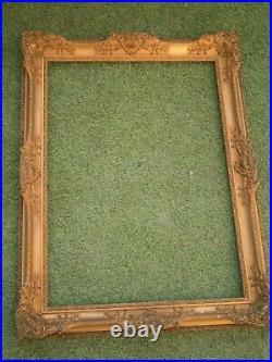 Ancien Grand Cadre En Bois Sculpte Dore Feuillure De 71 X 51 Frame Antique