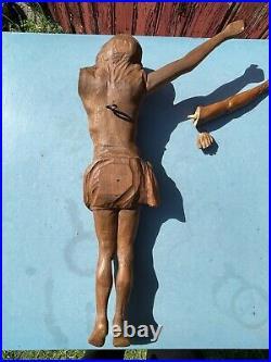 Ancien Grand Christ En Bois Sculpte Signe J. Bret 65 CM