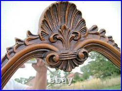 Ancien Grand Miroir Bois sculpté LOUIS XV motif coquille, H 85 X 58 cm