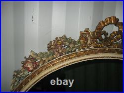 Ancien Grand Miroir En Bois Sculpté De Guirlandes-peint Et Doré-style Louis XVI