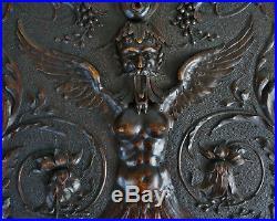Ancien Grand Panneau en Bois Sculpté Sphinge Mythologie Style Renaissance