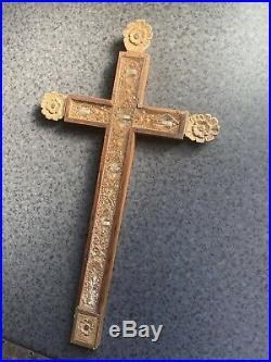 Ancien Grand Reliquaire Bois Sculpté 38cm Antique Cross Reliquary 18/19 Eme