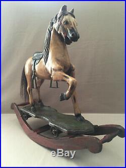 Ancien Jouet Cheval En Bois Sculpté A Bascule Collector Vintage Polychrome Art