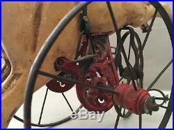 Ancien Jouet Cheval Tricycle En Bois Sculpté Collector Vintage Polychrome Art