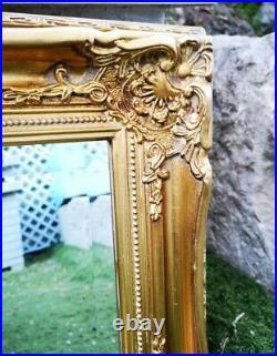 Ancien Magnifique Miroir Biseauté Avec Cadre En Bois Doré Sculpté 35 x 40 cm