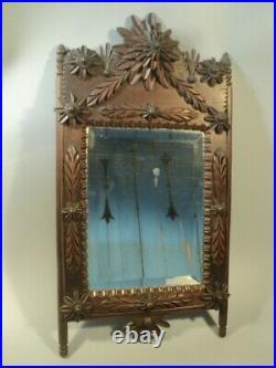 Ancien Miroir Bois Sculpté Fleurs Art Populaire / Epoque Louis XVI