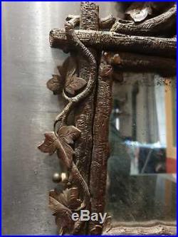 Ancien Miroir, Bois Sculpte, Foret Noire, Black Forest, Xixeme, Miroir Mercure
