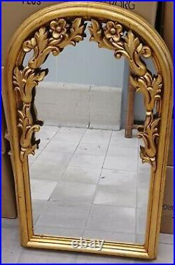Ancien Miroir En Bois Doré Sculpté Xixeme