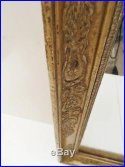 Ancien Miroir Mercure Cadre Bois Stuc Dore Sculpte Époque Charles X Restauration