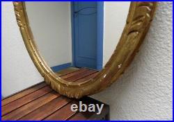 Ancien Miroir Ovale En Bois Dore Et Stuc Decors Sculptes Style Montparnasse