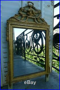 Ancien Miroir Style Louis XVI Bois Dore Sculpte XIX Siecle