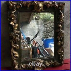 Ancien Miroir Xviiieme, Louis Xv, Bois Dore, Mirror, Dorure, Laque, Bois Sculpte