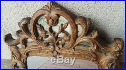Ancien Miroir à Parcloses Style Régence Bois Doré Sculpté