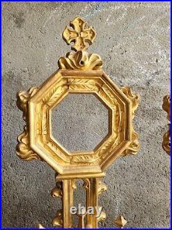Ancien Ostensoir, Monstrance, Reliquaire, Bois Dore, Dorure, Xviiieme, Bois Sculpte
