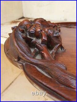 Ancien PLATEAU EN BOIS SCULPTÉ DRAGONS ASIE XIXème décor souris oiseaux