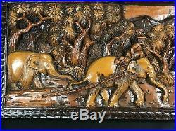 Ancien Panneau Bas Relief Art Africain Bois Sculpte Indigènes Afrique Elephant