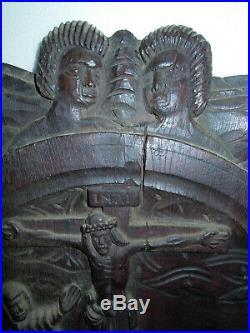 Ancien Panneau Bois Sculpte Art Religieux Christianisme