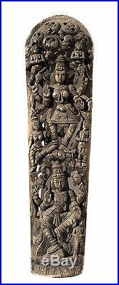 Ancien Panneau bois sculpté statue hindoue Lakshmi 181 cm-71 Nepal-Inde