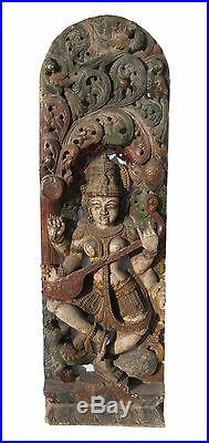 Ancien Panneau bois sculpté statue hindoue Saraswati 121 cm-47.63 Nepal-Inde