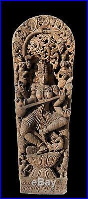 Ancien Panneau bois sculpté statue hindoue Saraswati 184 cm-72 Nepal-Inde